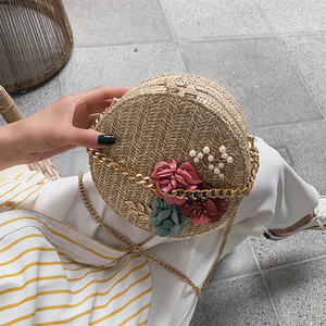 Round Straw Bag Women Summer Fashion Retro Flower Weave Bag