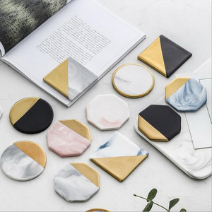 Luxury Unique Marble Pink Gold Ceramic Placemat Coaster Porcelain Mats Pads