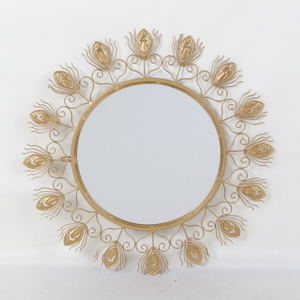 Metal Frame Gold Sun Decor Wall Decorative Mirror