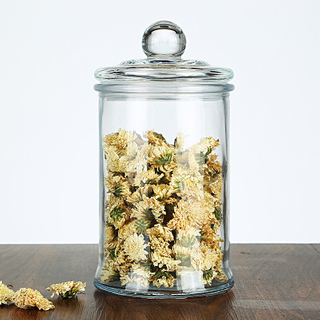 Food Storage Jars with Wood Lid Cork Ball Stopper Handmade Borosilicate Glass Canister Jar