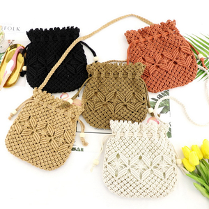 Weaving Bucket Bag Mini Crossbody Bag Drawstring Handbags