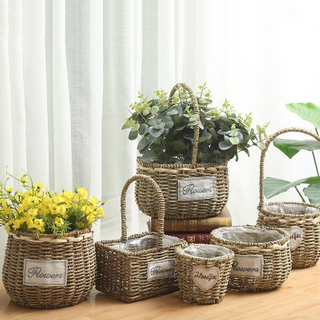 High Quality Best Selling Eco-friendly Set of 3 Handwoven Seagrass Basket with Handles-yellow & Natural Color