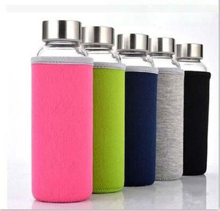 New Arrival Product Wholesale Silicone Sleeves Portable Drinking Glass Water Bottle with Bamboo Lid