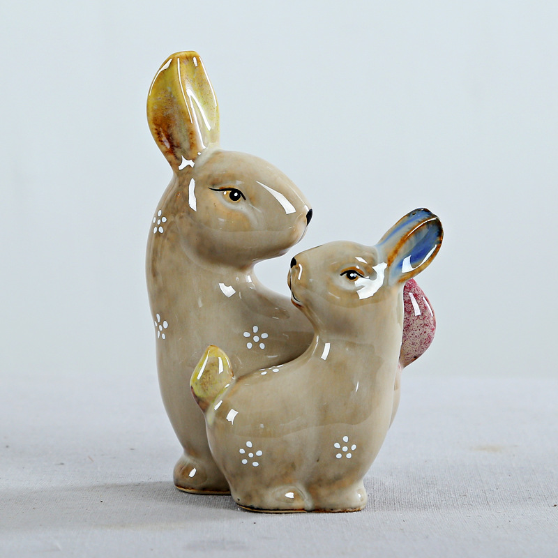 Antique Custom Color Ceramic Porcelain Rabbit for Ornaments