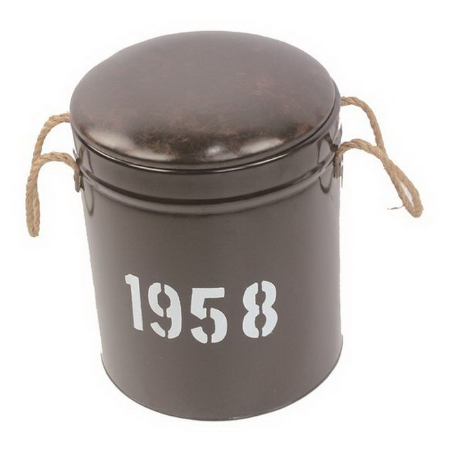 Metal Round Bucket Seats Stool Pail Tabouret Ottoman with Handle