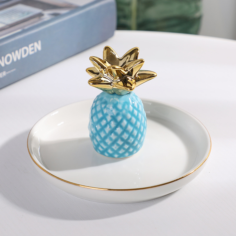 Electroplated Golden Pineapples Ceramic Ring Dish with 3D Heart & Gold Rim Stoneware