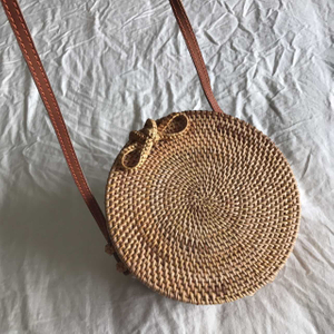 New Design Weaving Rattan Bag Round Straw Bag Wholesale