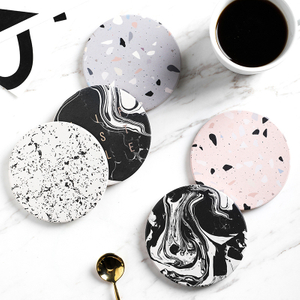 Fancy Coffee Terrazzo Effect Ceramic Coaster with Contrast Golden Color