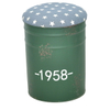 Shabby Chic Round Tin Bucket Metal Ottoman Stool And Storage with Leather Cover