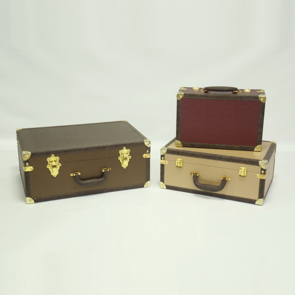 Wholesale Retro Decorative Wooden Storage Box Vintage Suitcase