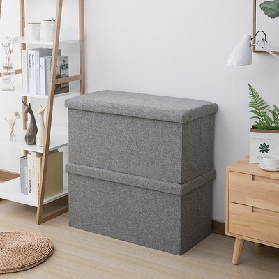 Living Room Multifunction Portable Folding Storage Ottoman for Shoes