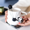 Creative Ceramic Coffee Milk Beer Mug 3d Ceramic with Cartoon Fox Rabbit Deer Plastic Lid