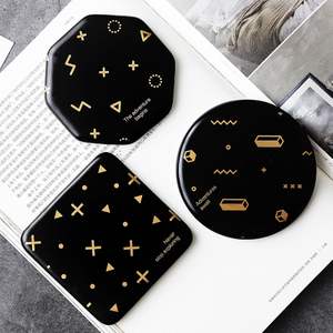 Novelty Personalised Black Gold Round Square Blank Sublimation Marble Ceramic Coaster