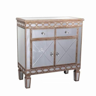Antique Living Room Golden Mirrored Furniture Mirrored Chest Cabinet Sideboard
