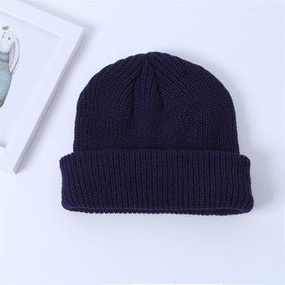 Wholesale Custom Knit Slouchy Merino Wool Cheap Beanie Hat with Custom Leather Label