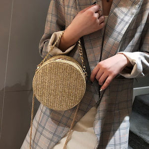 Fashion New Women Round Shoulder Bag Weave Ladies Straw Chain Crossbody Bag