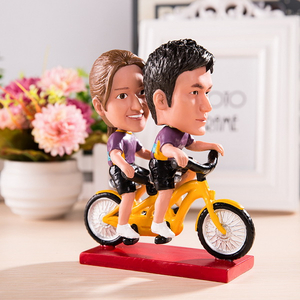 Personalized Bobble Head Doll Or Big Head Doll Driving Bike Together Wedding Gift