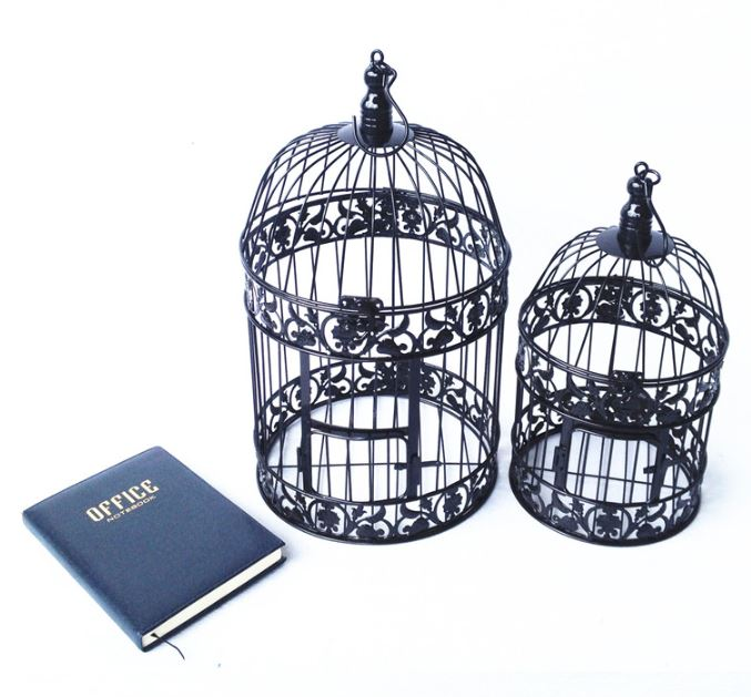 Handmade Antique White Metal Decorative Wedding Bird Cage Set