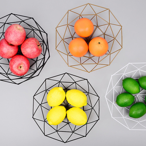Geometric Fruit Vegetable Wire Basket Metal Bowl Kitchen Storage Desktop Organizer