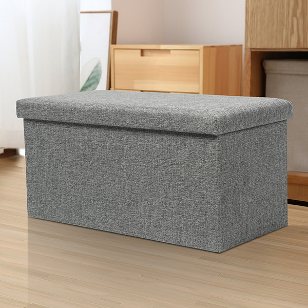 Wholesale Collapsible Cheap Facial Design Fabric Stool with Storage Ottoman