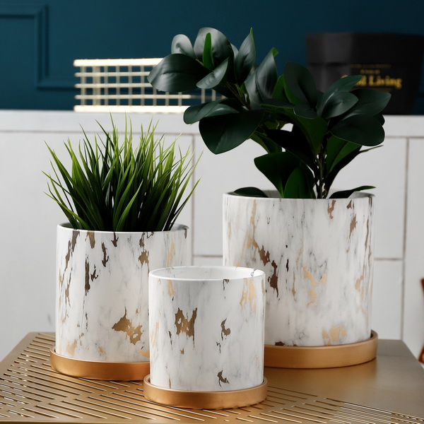 Creative desktop decoration mini white ceramic flower pots