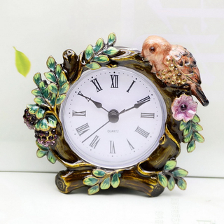 Antiqued Pearls Jeweled Round Tabletop Metal Clock