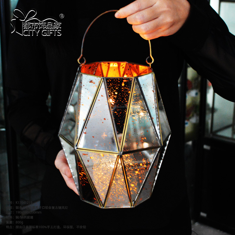hanging metal frame glass candle holder lantern for garden