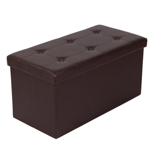 Modern Leather Folding Storage Ottoman Chair