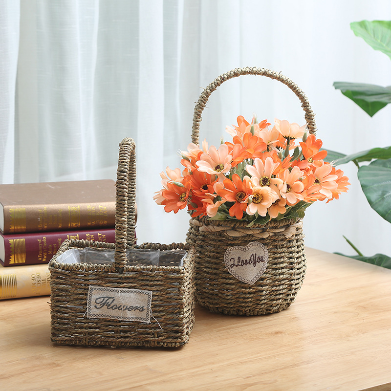 High Quality Best Selling Eco-friendly Set of 3 Handwoven Seagrass Basket with Handles-yellow