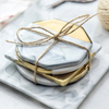 Marbled Ceramic Coasters Insulated MATS with Gold-plated Edges