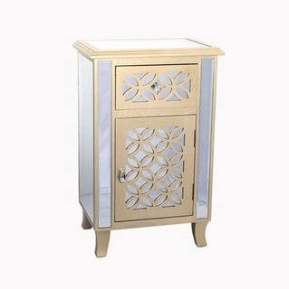 Modern Furniture Narrow Mirrored and MDF Silver Cabinet Storage Chest
