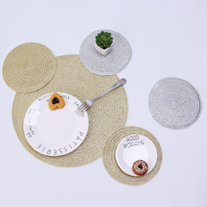 Cheap Colorful Handmade Weaving Cotton Rope Placemat / Cup Mat Used for Putting Drinks on Display