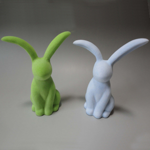 Green Ceramic Flocking Rabbit Figurine Ceramic Flocked Rabbit