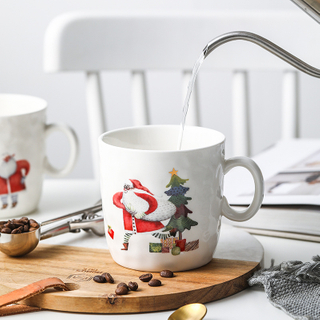 Creative Ceramic Mug with Large Capacity Water Pattern Christmas Mug